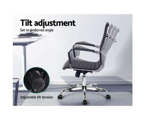 OCHAIR H 8147 BK 03 - Chaise Replica Eames PU Leather Mid Back Office Chair - Black