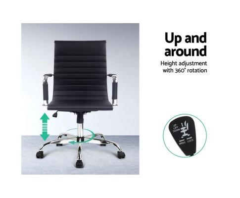 OCHAIR H 8147 BK 04 - Chaise Replica Eames PU Leather Mid Back Office Chair - Black