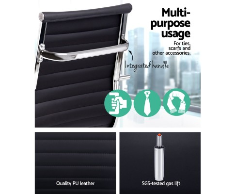 OCHAIR H 8147 BK 05 - Chaise Replica Eames PU Leather Mid Back Office Chair - Black