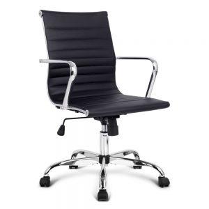 OCHAIR KD 8147 BK 00 300x300 - Replica Eames PU Leather Low Back Office Chair - Black