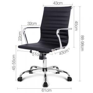 OCHAIR KD 8147 BK 01 300x300 - Replica Eames PU Leather Low Back Office Chair - Black