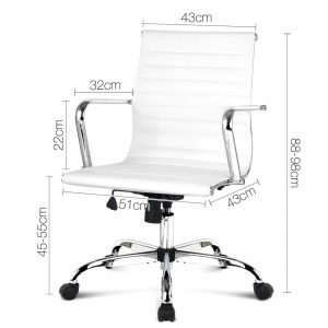 OCHAIR KD 8147 WH 01 300x300 - Replica Eames PU Leather Low Back Office Chair - White