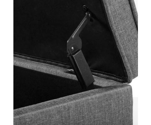 OTM A1 A1009 GY 10 - Vincent Fabric Storage Ottoman - Grey