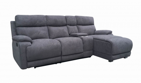 LA 3 Seater Chaise Charcoal  - LA 3 Seater Chaise - Charcoal