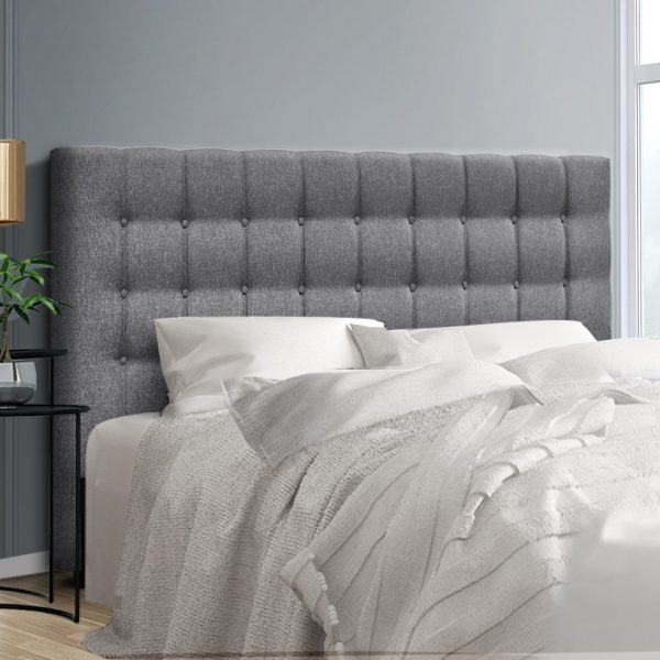 BFRAME E RAFT K LI GY 99 600x600 - Dennis Upholstered Fabric Headboard Grey-Queen Size