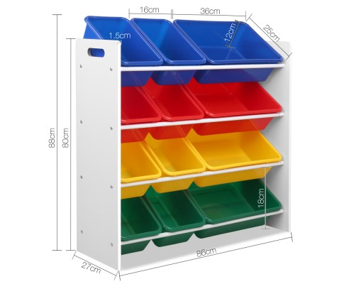 FURNI G TOY110 WH 01 - AUDREY 12 Bin Toy Rack