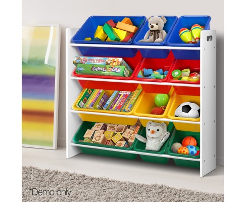 FURNI G TOY110 WH 08 - AUDREY 12 Bin Toy Rack