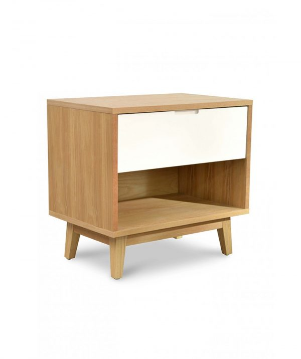 bd007 dw c 2 600x716 - Dixie Bedside White & Natural Oak