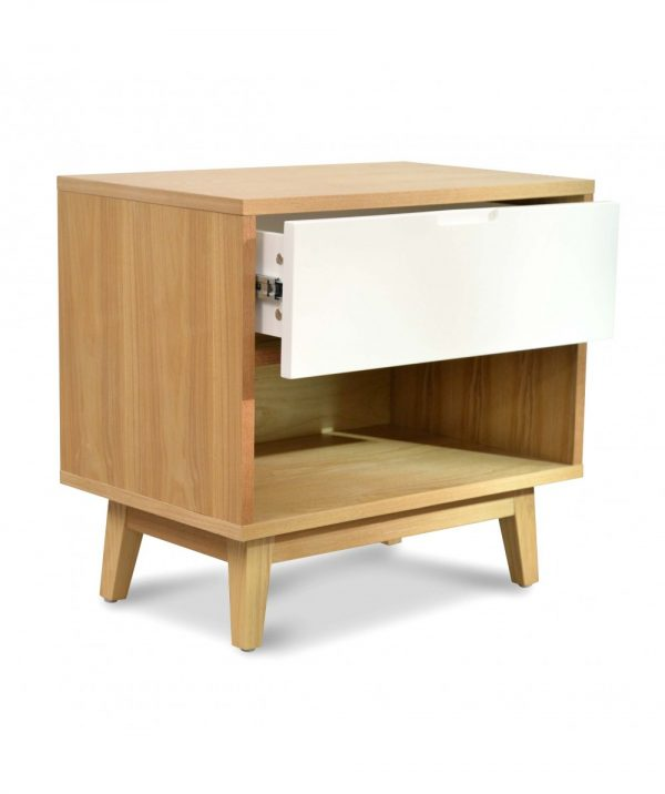 bd007 dw c 4 600x716 - Dixie Bedside White & Natural Oak