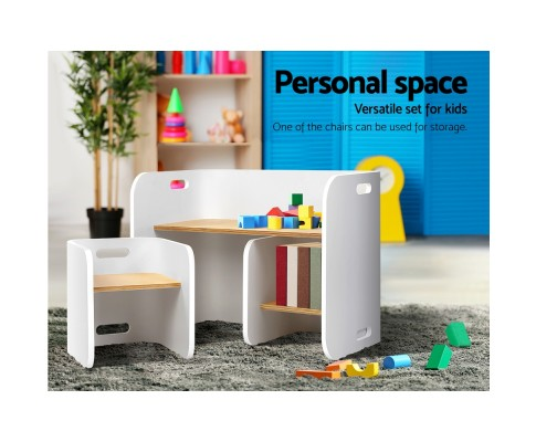 bent b kid tab03 nt wh 03 - Emmy Table & Chairs