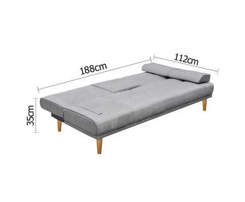 sbed r1c linen bk 02 1 - Royale 3 Seater Sofa Bed - Grey
