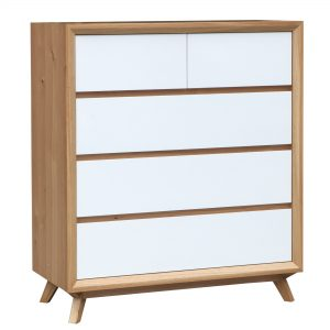 SebelWhite26NaturalTallboy 300x300 - Sebel 5 Drawer Tallboy