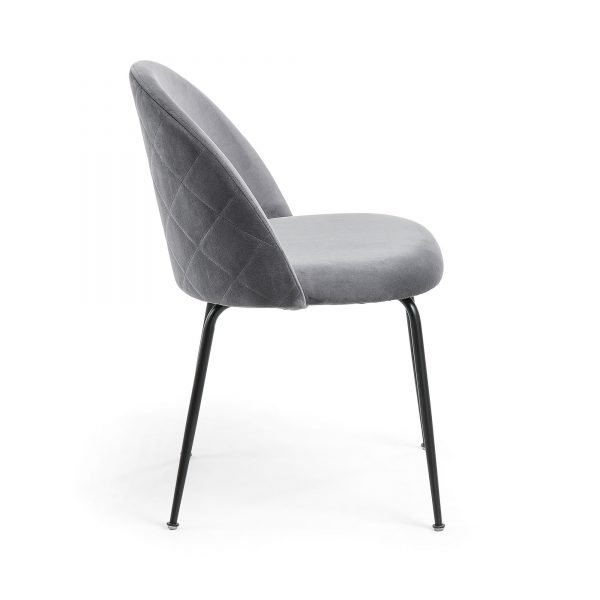 Mystere 6 600x600 - Mystere Dining Chair - Grey Velvet/Black