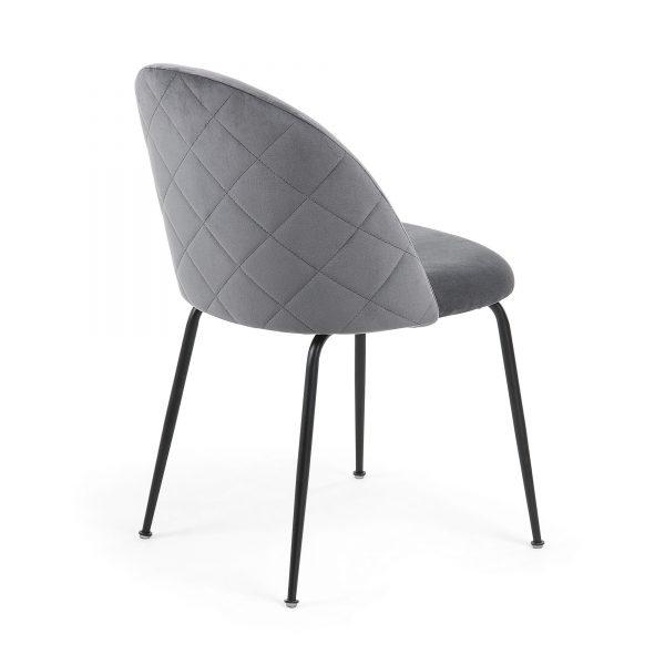 Mystere 7 600x600 - Mystere Dining Chair - Grey Velvet/Black