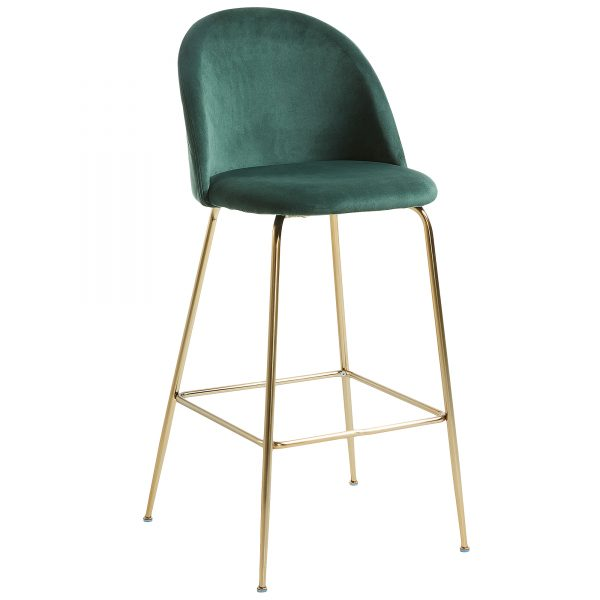 Mystere 1 1 600x600 - Mystere Bar Stool - Emerald Velvet/Gold