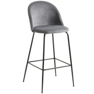 Mystere 1 300x300 - Mystere Bar Stool - Grey Velvet/Black