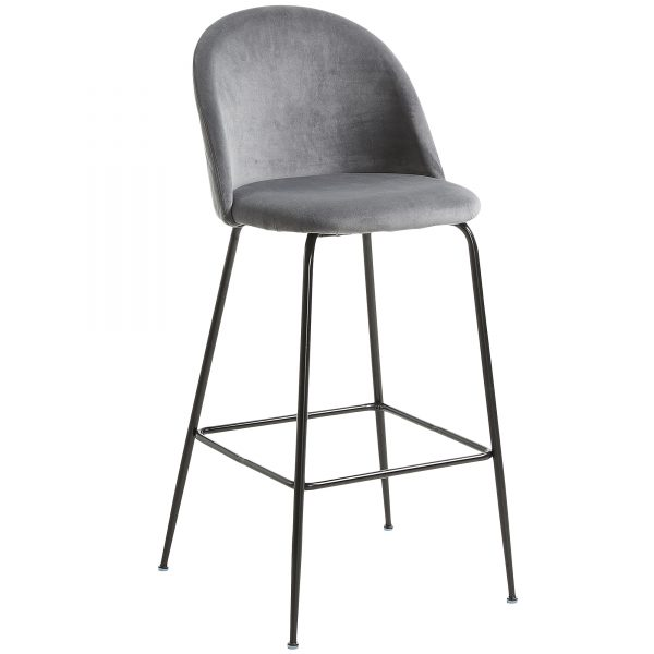 Mystere 1 600x600 - Mystere Bar Stool - Grey Velvet/Black