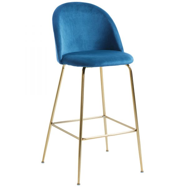 Mystere 6 600x600 - Mystere Bar Stool - Blue Velvet/Gold