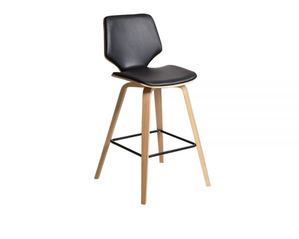 blackoak 600x480 - Ryde Barstool - Black on Oak Frame