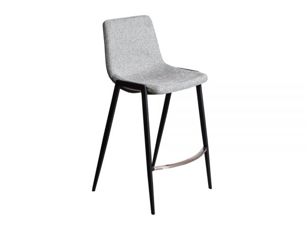hudson2 600x480 - Hudson Barstool - Grey Fabric on Black Metal Frame