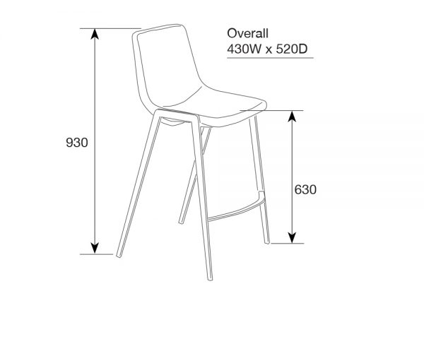 hudson6 1 600x480 - Hudson Barstool - Black on Black Metal Frame