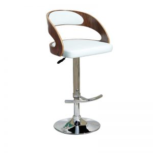 mars2 300x300 - Mars Barstool - White & Walnut on Stainless Steel Base