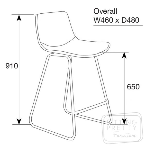 mendel st dim 600x600 - Mendel Bar Stool - Skid Base - Rust