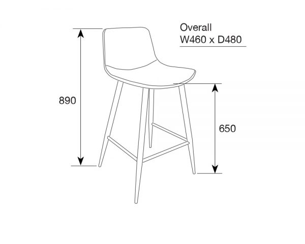 mendelf3 600x480 - Mendel Bar Stool - 4 Leg Base - GREY