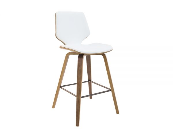 ryde4 600x480 - Ryde Barstool - White on WALNUT Frame