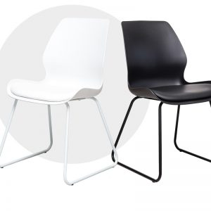 shell1 300x300 - Shell Dining Chair- Skid Base Black & White