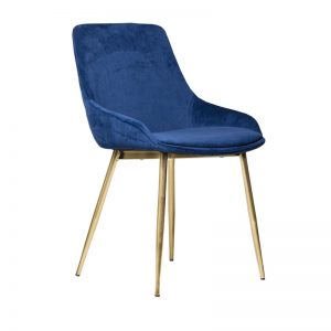 tilley1 1 300x300 - Tilley Dining Chair -Dark Blue Velvet on Gold Frame