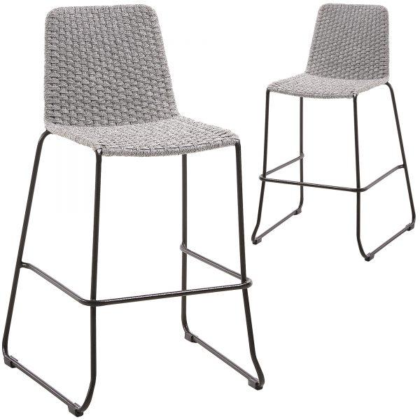 74cm Celia Woven Rope Outdoor Barstools 1 600x600 - Meggie Barstool - Light Grey