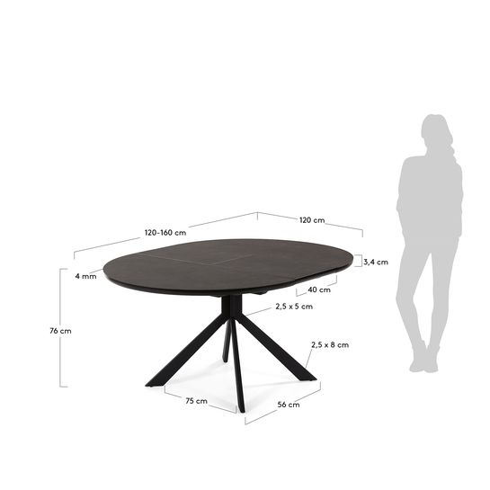 f35375538149dd265f4f5018a917f112 - Haydee Extension Table 120cm - 160cm