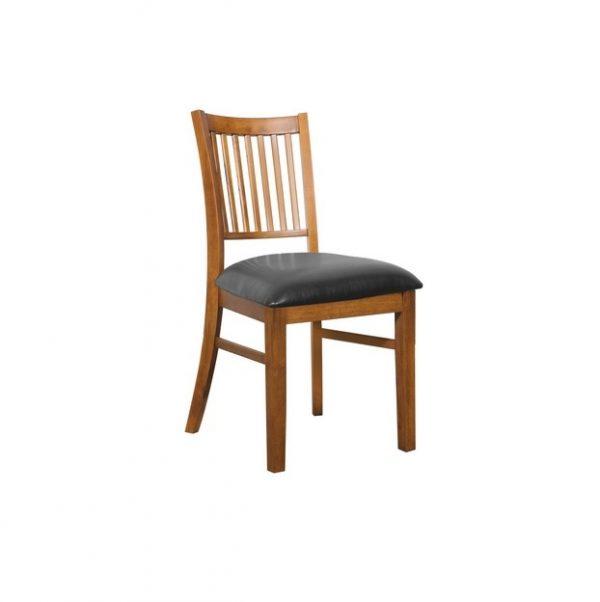 DC0002 600x602 - Austria Dining Chair - Teak Frame Black PU Seat