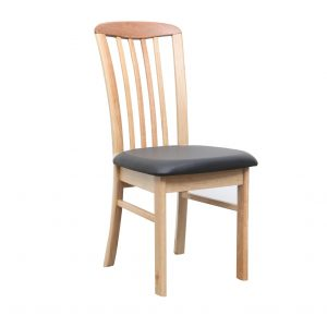 DC0015 300x300 - REIM Dining Chair - Natural Frame Black PU Seat
