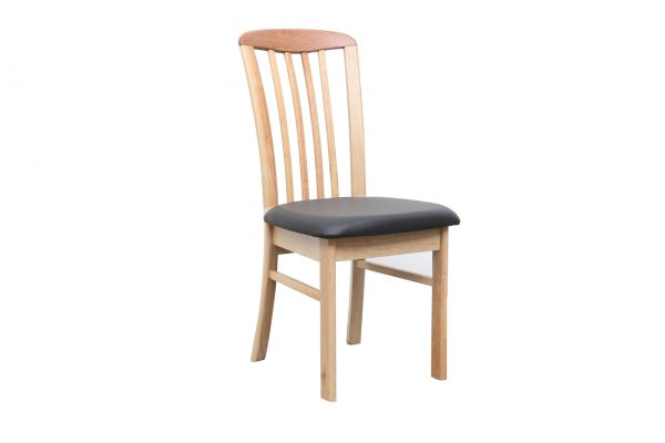 DC0015 600x400 - REIM Dining Chair - Natural Frame Black PU Seat