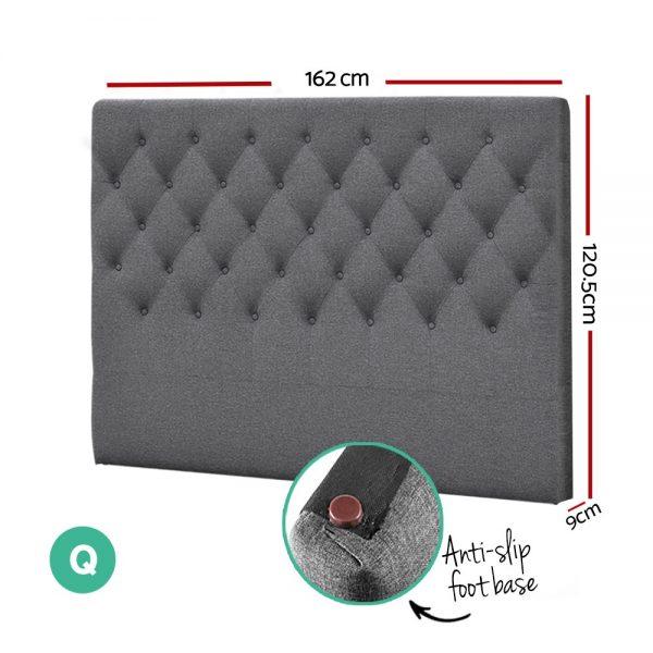 BFRAME E HEAD Q GY 01 600x600 - Arthur Upholstered Headboard Light Grey-Double