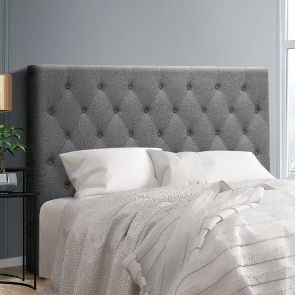 BFRAME E HEAD Q GY 99 600x600 - Arthur Upholstered Headboard Light Grey-Queen