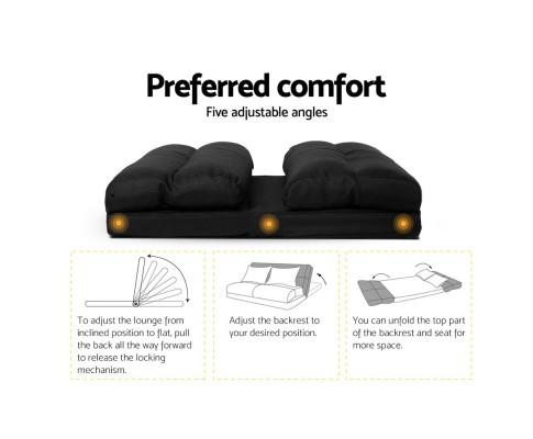 FLOOR SBL 200LIN S BK 02 - Argus Floor Lounge Sofa Bed - Black