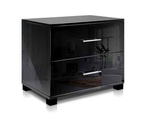 FURNI GLOSS SIDE BK 00 - Jo Hi Gloss Black Bedside