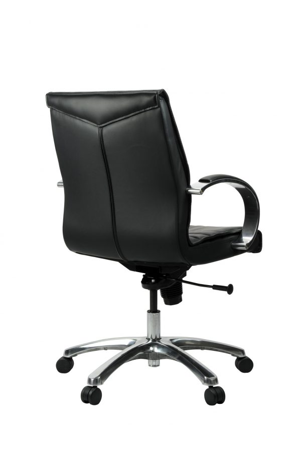FranklinMB 3 600x902 - Franklin Mid Back Office Chair - Black Leather