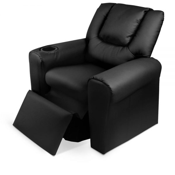 KID RECLINER BK 05 600x600 - Amy Kids Recliner Armchair - Black