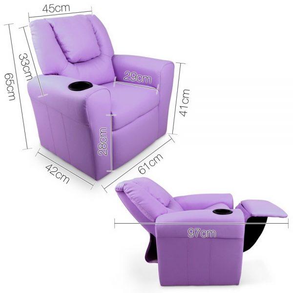KID RECLINER PUR 01 600x600 - Amy Kids Recliner Armchair - Purple