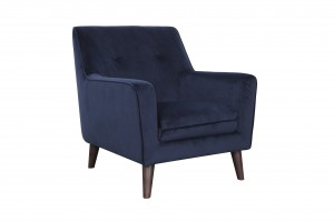 Luxe ArmChair Dark Blue Velvet 300x200 - Velvet Luxe Armchair - Navy with Walnut Leg