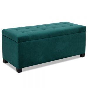 OTM F VEL GN 00 300x300 - Janelle Green Velvet Storage Ottoman