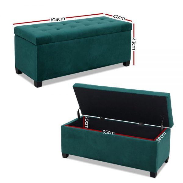 OTM F VEL GN 01 600x600 - Janelle Green Velvet Storage Ottoman