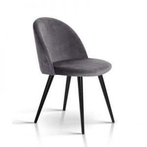 MO DIN 02 VEL BKX2 00 300x300 - Georgia Velvet Dining Chair - Dark Grey/Black Frame