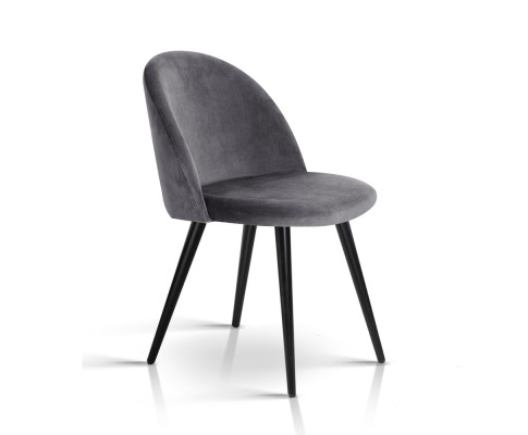 MO DIN 02 VEL BKX2 00 - Georgia Velvet Dining Chair - Dark Grey/Black Frame