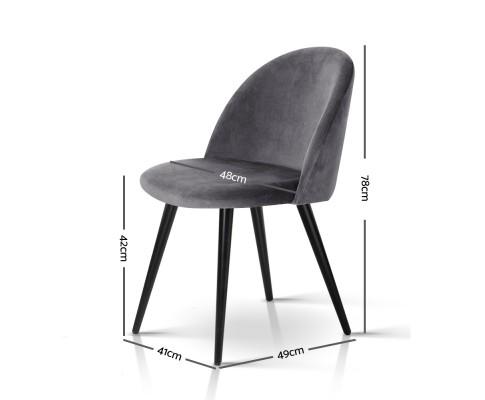 MO DIN 02 VEL BKX2 01 - Georgia Velvet Dining Chair - Dark Grey/Black Frame