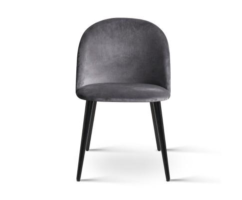 MO DIN 02 VEL BKX2 02 - Georgia Velvet Dining Chair - Dark Grey/Black Frame